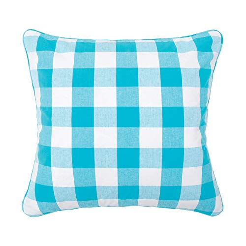 (C&F Home Franklin Buffalo Check Gingham Plaid Woven Turquoise and White Double Sided Decorative Pillow 20 x 20 Turquoise)
