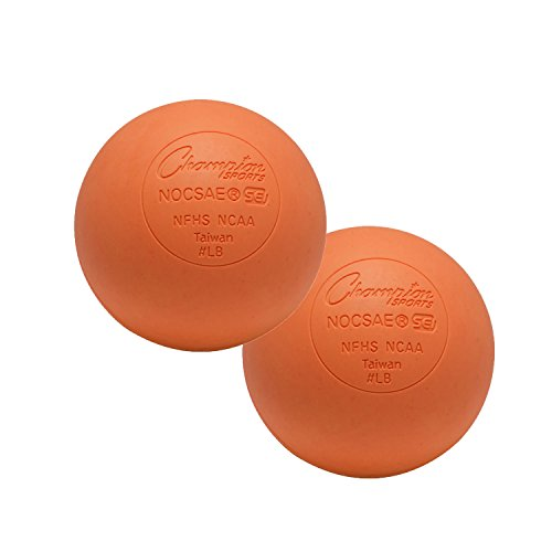 Champion Sports Colored Lacrosse Balls: Orange Official Size Sporting Goods Equipment for Professional, College & Grade School Games, Practices & Recreation - NCAA, NFHS and SEI Certified - 2 Pack