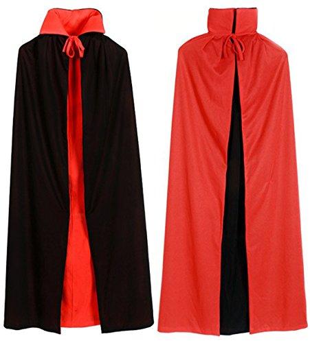 Dagger Velvet (Reversible Black Red Velvet Cape Cloak Vampire Demon Kid Adult Costume Halloween)