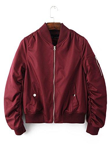Season Show Womens Flight Jacket Lightweight Classic Outerwear Bomber Jacket Burgundy M (Season Bomber Jacket)