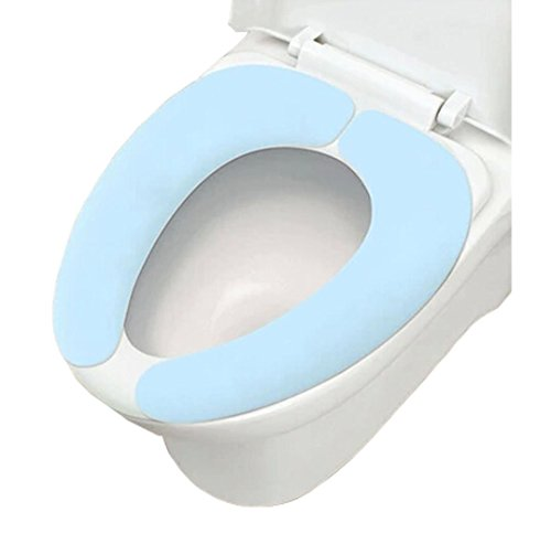 Trenton Gifts Soft Fleece Toilet Seat Cover Warmer | Soft Cushion Bathroom Accessory (Blue)