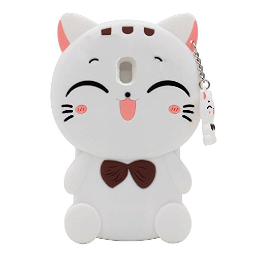 Galaxy J7 2018 Case, J7 Aero/J7 Aura/J7 Top/J7 Refine/J7 Eon/J7 Star Case, SKTGSLAMY 3D Black Lucky Fortune Cat Kitty with Cute Bow Tie Silicone Rubber Phone Case Cover for J7 2018 (White)