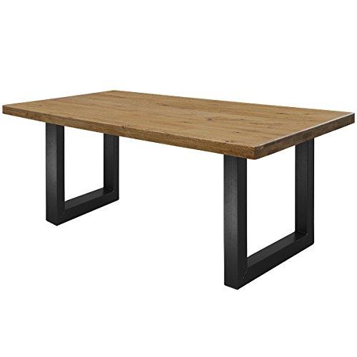 COMIFORT Mesa de Comedor - Mueble para Salon Oficina Despacho Robusto y Moderno de Roble Macizo Color Ahumado, Patas de Acero U-Forma Negras (140x75 cm)