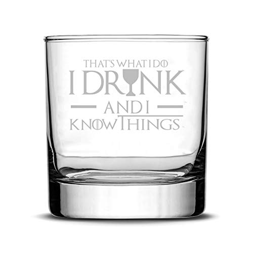 Game Of Thrones Glasses - I Drink and I know Things Whiskey Highball and I Drink and I Know Things Wine Glass - Set of 2 - by FOLE (Image #1)