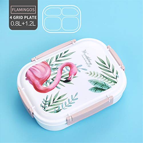 Japanese Color Pattern Bento Box 304 Stainless Steel Lunch Box With Compartments For Kids School Food Container Storage Flamingo 4 - Transformer Metal Lunch Box