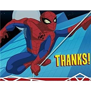 Amazon Com Spider Man Thank You Cards 8 Count Toys Games