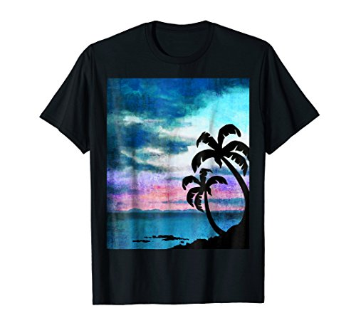 (Beach Scene Graphic T-shirt with Palm)