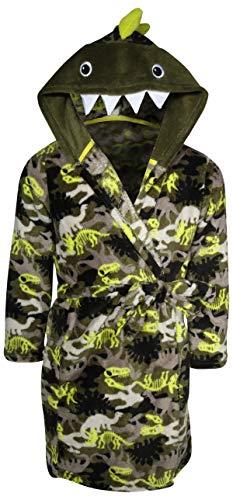 Only Boys PlushFleece Animal Character Hooded Robe, Green Dinosaurs, Size 12/14'