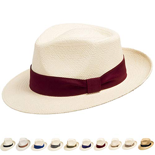 Ultrafino Genuine Havana Classic Panama Straw Dress Hat Comfortable RED Hatband 7 - Gambler Red Straw Hat
