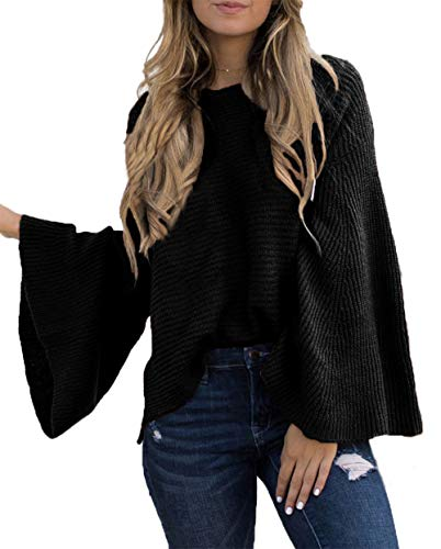 HZSONNE Women's Casual Kimono Bell Sleeve Patchwork Stripe Loose Fit V Neck Pullover Sweater Knitted Tops Blouse Cardigan ()