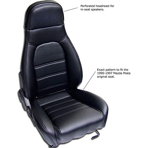 Sierra Auto Tops Mazda Miata Front Seat Cover Kit for 1990-1996 Standard Seats, Simulated Leather, Black (Driver and Passenger Included)