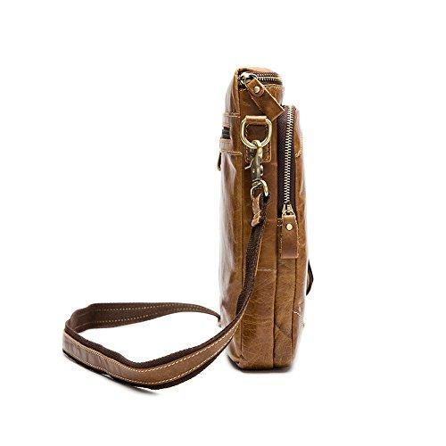 Stepack marca de moda de los hombres de cuero real auténtico bolso de viaje Messenger Bag Bolsa de negocios para IPAD MINI marrón