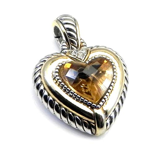 Real Imposters Necklace Pendants Cable Designer Inspired 2-Tone Heart Shape Simulated Topaz CZ & Crystals Pendant