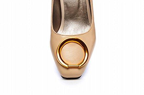 Mee Shoes Damen Blockabsatz Geschlossen Vierkant Pumps Beige