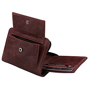 Otto RFID Blocking Men's Zippered Bifold Wallet - Italian Cowhide Leather - Slim Travel Comfort - Credit Card Holder w/Transparent ID Slot - Snap Back Coin Holder
