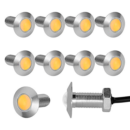 YITAMOTOR 10pcs Eagle Eye LED 23mm Waterproof Ultra Thin Silver Aluminum Shell Eagle Eye Led Light Kit Car Motorcycle Day Time DRL Lights (Amber Light) ()