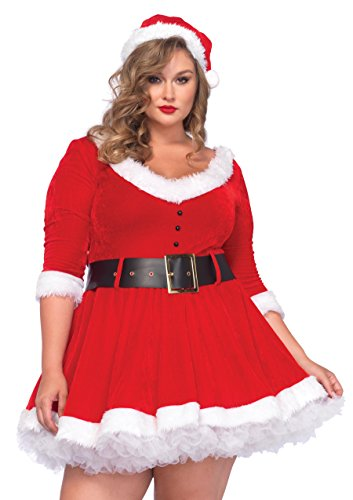 Santa Claus Costume Women (Leg Avenue Women's Plus-Size Miss Santa, Red, 1X/2X)