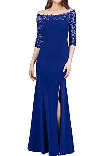 Spitze Langarm mit Blau Dunkel Etuikleider Festlichkleider Braut Elegant Blau Damen Marie Royal Brautmutterkleider La nYO0q8wB