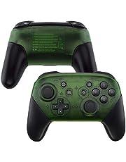 eXtremeRate Nintendo Switch Pro Controller için kılıf, kılıf, gövde, kavrama kılıf, kulplar, Nintendo Switch Pro Controller için yedek parça, kumanda yok (şeffaf yeşil)