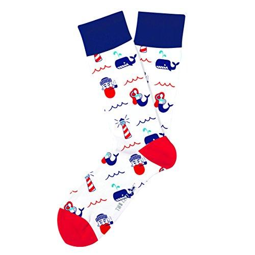 Two Left Feet Unisex-Adult's Novelty Crew Sock, Adventure Sea, Medium/Large ()