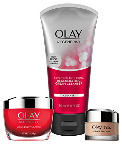 (Face Wash by Olay Anti-Aging Skincare Kit with Regenerist Cleanser, Moisturizer & Eye Cream)