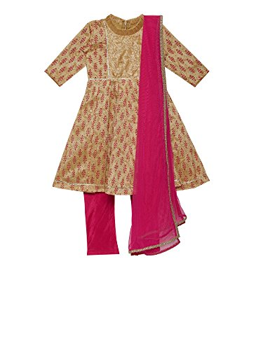 Designer Salwar Kurta - K&U Girls' Gold & Pink Silk Indian Salwar Kurta Set