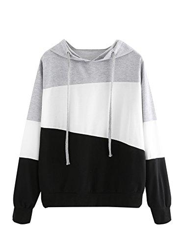 SweatyRocks Women's Color Block Lightweight Long Sleeve Pullover Hoodie, Grey White Black, S