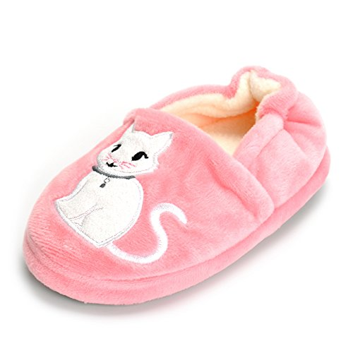 estamico toddler girls' premium soft plush animal slippers cartoon warm winter house shoes