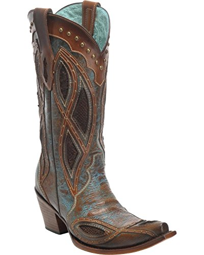 Corral Womens Gnarly Fisk Dubbade Cowboy Boot Klipp Tå - C3149 Brun