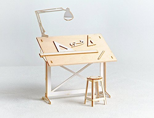 Miniature Drafting Table Model Kit Lasercut Architectural DIY Model with real Wood Tabletop ()