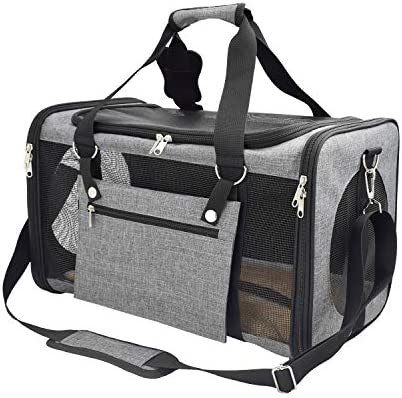 Pet Carrier Airline Approved Cat Carriers Dog Carrier for Small Medium Pets, 15 lbs Small Dog Carrier, Soft Sided Puppy Carrier Grey