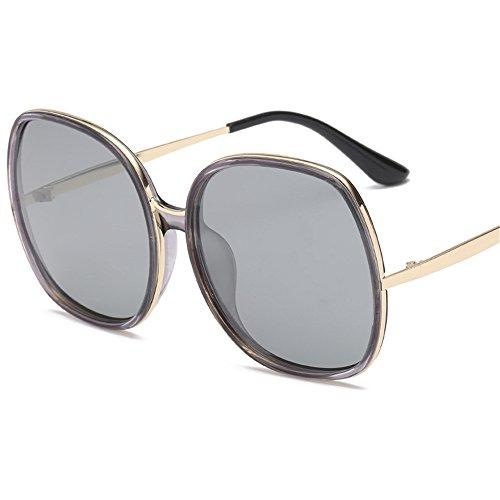 de Marco gafas de Ceniza Gafas Gris sol y de mujer tendencia sol de Box polarizador Unidos sombra Claro gafas Nuevas Europa de Gafas sol Big los Estados Gris qxgtATO