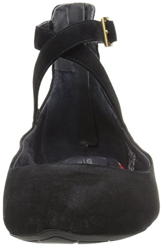 Rockport Donna Movimento Totale Adelyn Anklestrap Balletto In Camoscio Nero