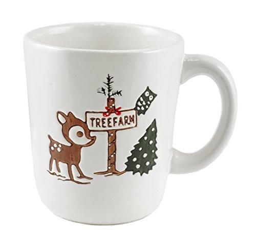 (Winter Tree Farm with Deer Stoneware Coffee Mug)