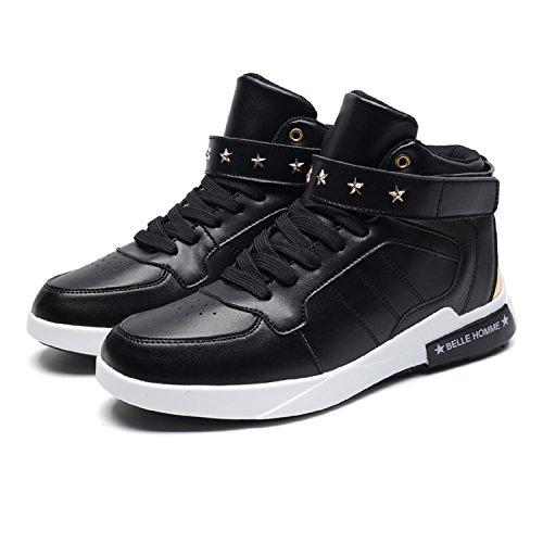 tqgold Herren Mid Hohe Sneakers Leder High-Top Sportschuhe Turnschuhe Schwarz Weiß Rot Schwarz