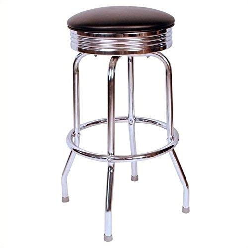 Richardson Seating Retro 1950s Chrome Swivel Bar Stool with Black Seat – 24