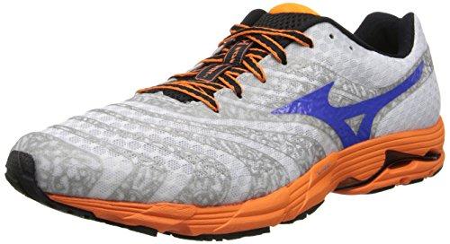 Mizuno Men's Wave Sayonara 2 Running Shoe,White/Dazzling Blue/Vibrant Orange,8 M US