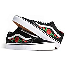 c60b6f55acff Vans Red Old Skool Embroidered Red Rose Custom Handmade Shoes By Patch  Collection.