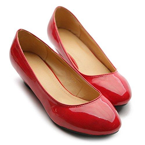 Scarpa Da Balletto Donna Ollio Tacco Basso Smalto Multi Colore Rosso