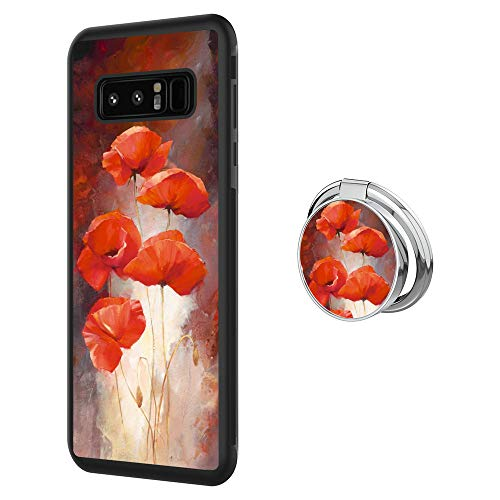 Hynina Phone Case and Phone Ring Buckle Compatible for Samsung Galaxy Note 8 - Poppy Flower