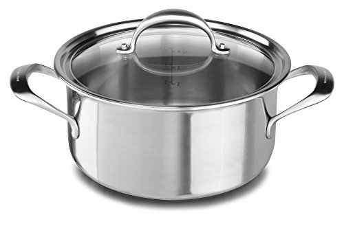 KitchenAid KC2C60LCST 5-Ply Copper Core 6 quart Low Casserole with Lid - Stainless Steel, Medium, Stainless Steel Finish ()