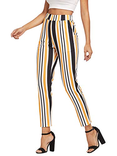 WDIRARA Women's Casual Striped Elastic Waist with Pocket Stretchy Long Pants Multicolor M