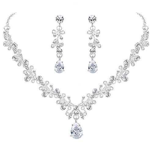 (BriLove Wedding Bridal Necklace Earrings Jewelry Set CZ Crystal Leaf Vine Floral Scroll Teardrop V-Necklace Pierced Earrings Set Clear Silver-Tone)