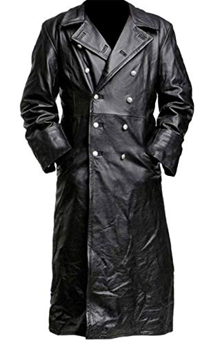 German Classic Officer WW2 Military Leather Trench Coat XXL (Suitable for 46-48 inches Chest) Faux Leather Black ()