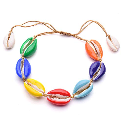 GVUSMIL Colorful Cowrie Shell Anklet Bracelet Handmade Beach Foot Chain Jewelry Hawaiian Jamaican Style Adjustable for Women Girls