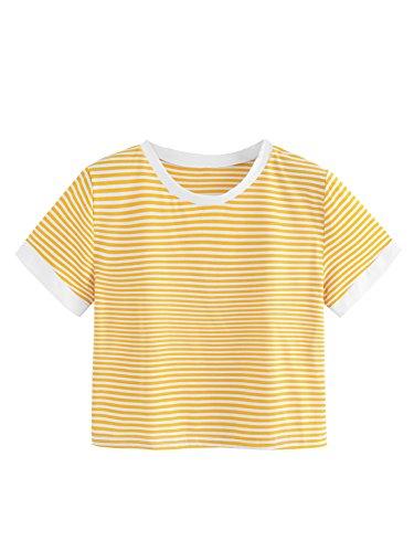 SweatyRocks Women's Short Sleeve Striped Crop T-Shirt Casual Tee Tops (Large, Yellow#4)