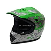 TMS Youth Kids Green Flame Motocross ATV Mx Off-road Dirt Bike Helmet DOT (Small) from T-Motorsports