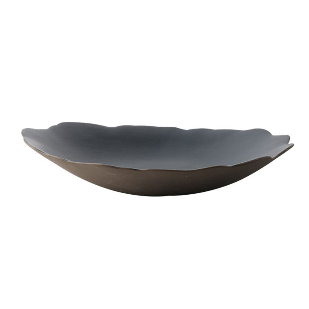 He Xiang Ya Shop Ceramic Dinner Plate Cutlery Round Fruit Salad Plate Flat Plate Home black Sweet Dessert Plate Breakfast Plate 8''
