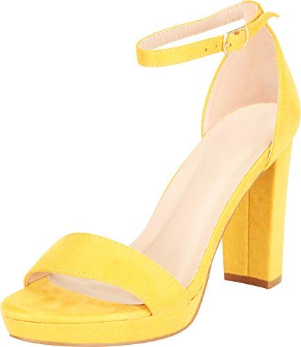 1/2 Inch Block Heel - Cambridge Select Women's Open Toe Single Band Ankle Strap Chunky Platform Block Heel Sandal,8.5 B(M) US,Mustard IMSU