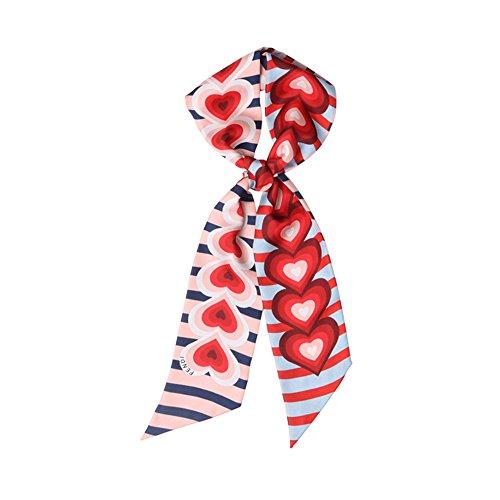 CHICOMP Women's Heart Print Silk Skinny Scarf/Choker Neck Scarf Tie/Silk Ribbon Sash Wedding Sash Bridal Belt Handbag Handle Ribbon Valentines Gift (Scarf Silk Sash Belt)